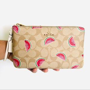Coach Double Zip Wallet Signature Watermelon Print